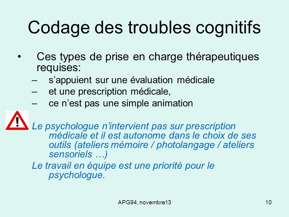 APG94, novembre1310 Codage des troubles cognitifs Ces types de prise en charge thérapeutiques requises: –sappuient sur une évaluation médicale –et une
