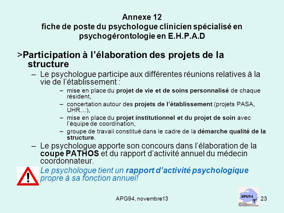 APG94, novembre1323 Annexe 12 fiche de poste du psychologue clinicien spécialisé en psychogérontologie en E.H.P.A.D >Participation à lélaboration des