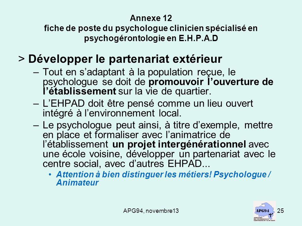 APG94, novembre1325 Annexe 12 fiche de poste du psychologue clinicien spécialisé en psychogérontologie en E.H.P.A.D > Développer le partenariat extéri