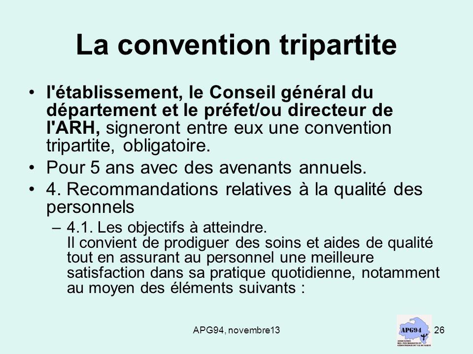 APG94, novembre1326 La convention tripartite l'établissement, le Conseil général du département et le préfet/ou directeur de l'ARH, signeront entre eu