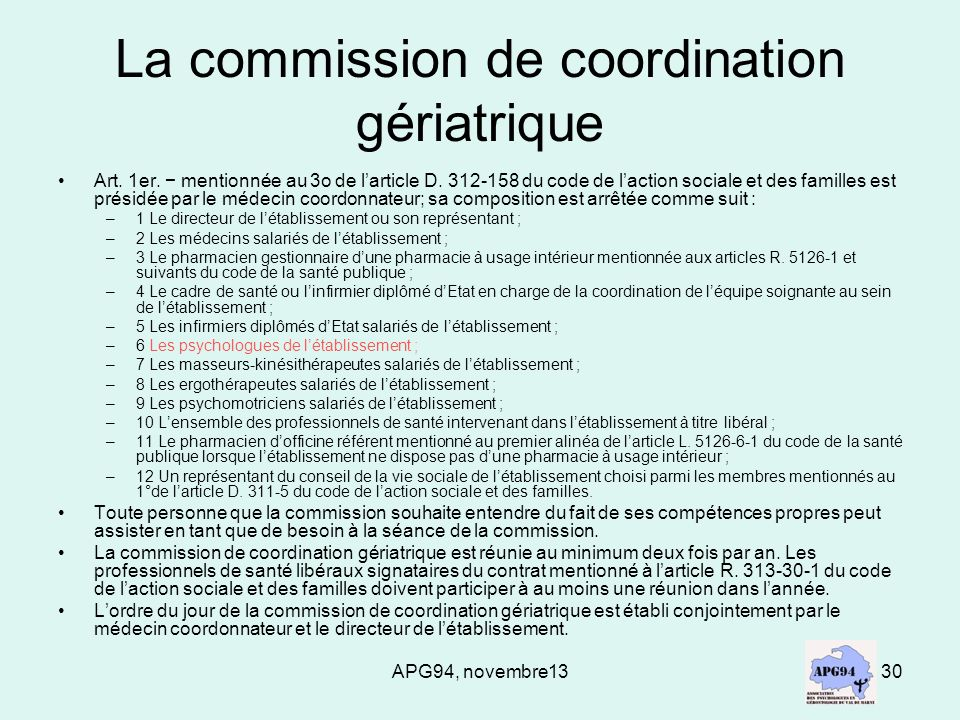 APG94, novembre1330 La commission de coordination gériatrique Art.