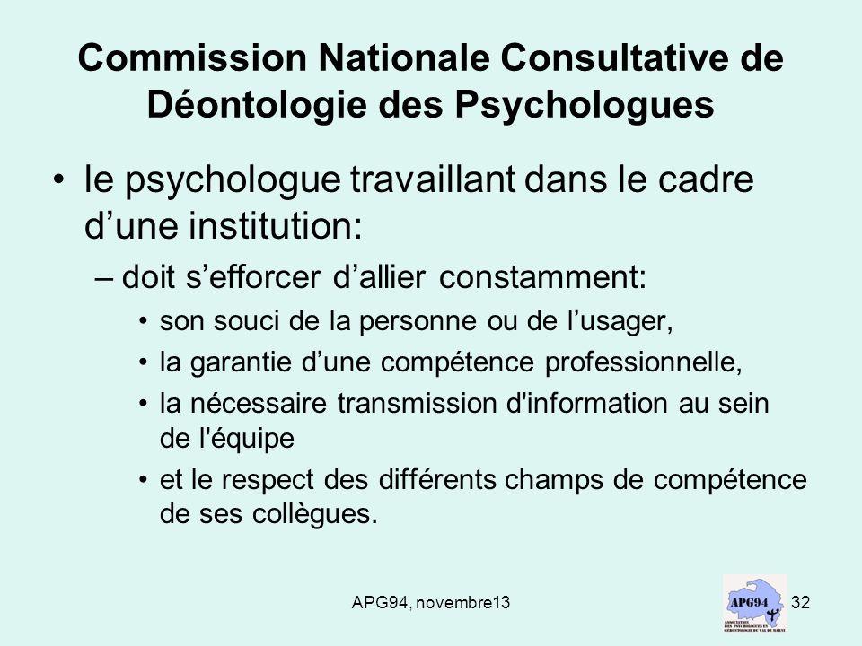 APG94, novembre1332 Commission Nationale Consultative de Déontologie des Psychologues le psychologue travaillant dans le cadre dune institution: –doit