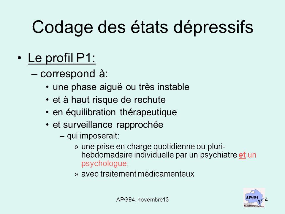 APG94, novembre135 Codage des états dépressifs Le profil P2: –correspond à: une prise en charge par une psychologue et /ou léquipe de linstitution au long cours, avec traitement médicamenteux