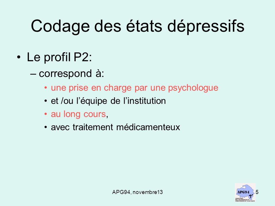 APG94, novembre135 Codage des états dépressifs Le profil P2: –correspond à: une prise en charge par une psychologue et /ou léquipe de linstitution au
