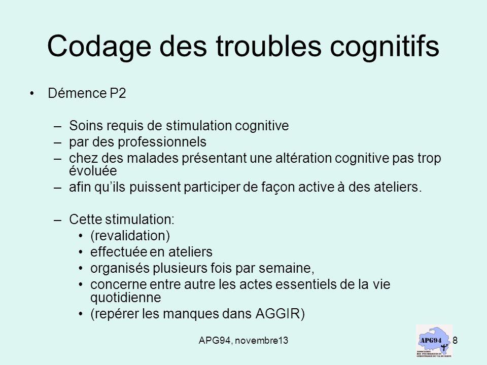 APG94, novembre138 Codage des troubles cognitifs Démence P2 –Soins requis de stimulation cognitive –par des professionnels –chez des malades présentan