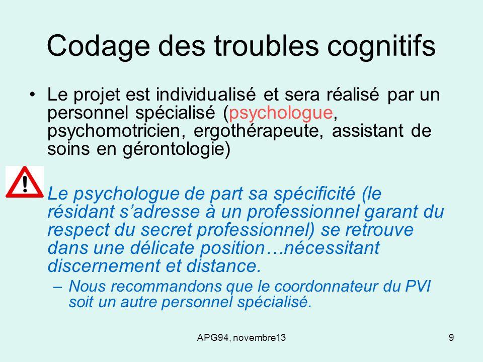APG94, novembre139 Codage des troubles cognitifs Le projet est individualisé et sera réalisé par un personnel spécialisé (psychologue, psychomotricien