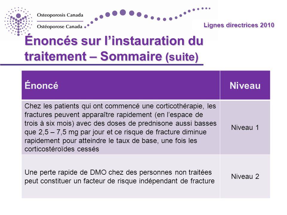 2010 Guidelines Énoncés sur linstauration du traitement – Sommaire (suite) ÉnoncéNiveau Chez les patients qui ont commencé une corticothérapie, les fr