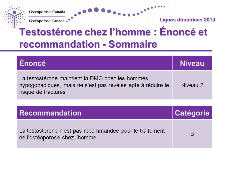2010 Guidelines Testostérone chez lhomme : Énoncé et recommandation - Sommaire ÉnoncéNiveau La testostérone maintient la DMO chez les hommes hypogonad