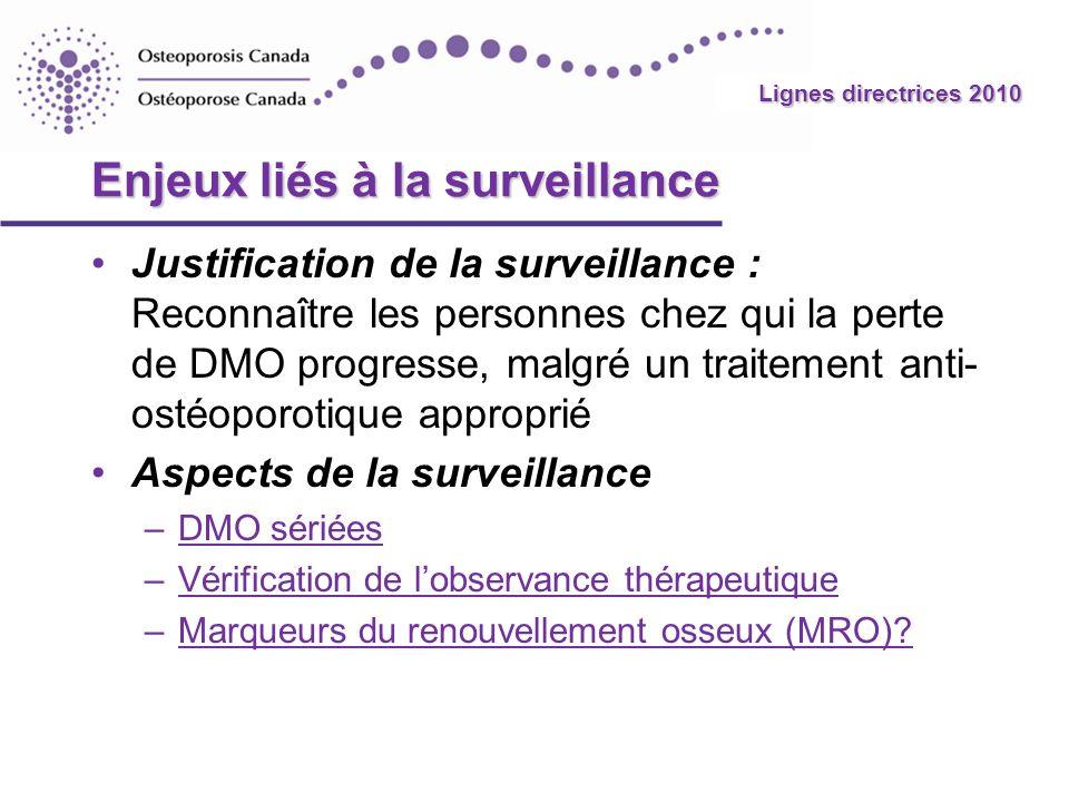 2010 Guidelines Enjeux liés à la surveillance Justification de la surveillance : Reconnaître les personnes chez qui la perte de DMO progresse, malgré