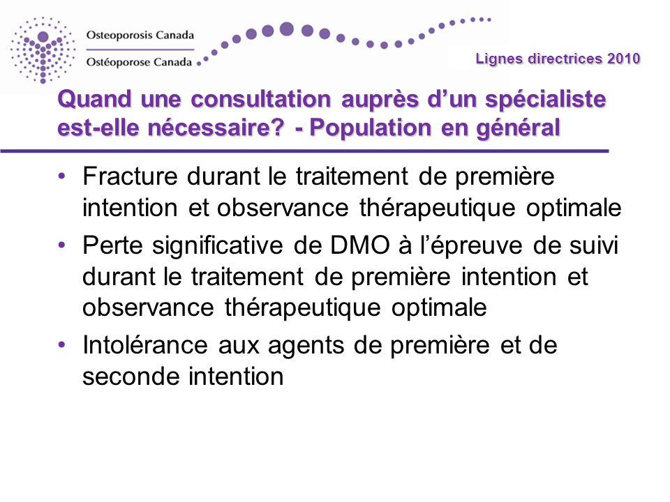 2010 Guidelines Quand une consultation auprès dun spécialiste est-elle nécessaire? - Population en général Fracture durant le traitement de première i