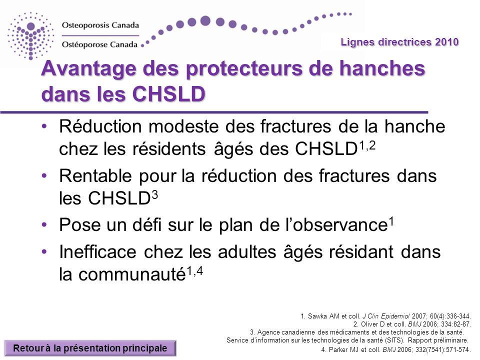 2010 Guidelines Avantage des protecteurs de hanches dans les CHSLD Réduction modeste des fractures de la hanche chez les résidents âgés des CHSLD 1,2