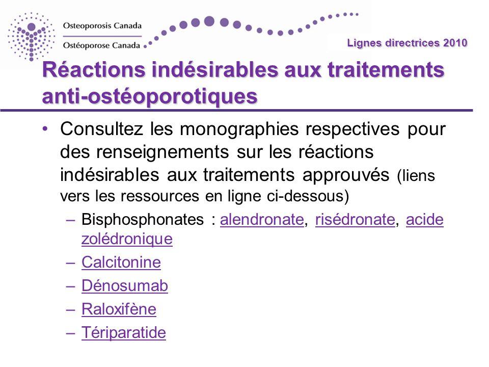 2010 Guidelines Réactions indésirables aux traitements anti-ostéoporotiques Consultez les monographies respectives pour des renseignements sur les réa