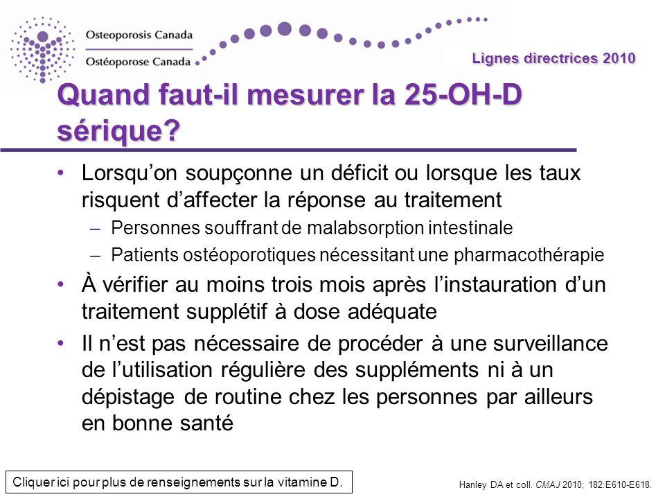 2010 Guidelines Quand faut-il mesurer la 25-OH-D sérique? Lorsquon soupçonne un déficit ou lorsque les taux risquent daffecter la réponse au traitemen