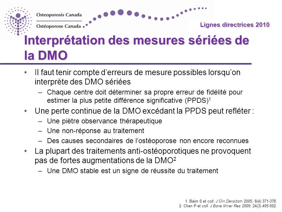 2010 Guidelines Interprétation des mesures sériées de la DMO Il faut tenir compte derreurs de mesure possibles lorsquon interprète des DMO sériées –Ch