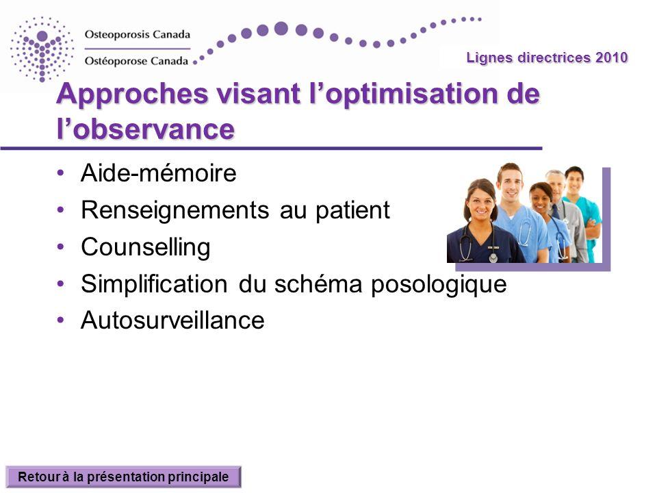 2010 Guidelines Approches visant loptimisation de lobservance Aide-mémoire Renseignements au patient Counselling Simplification du schéma posologique