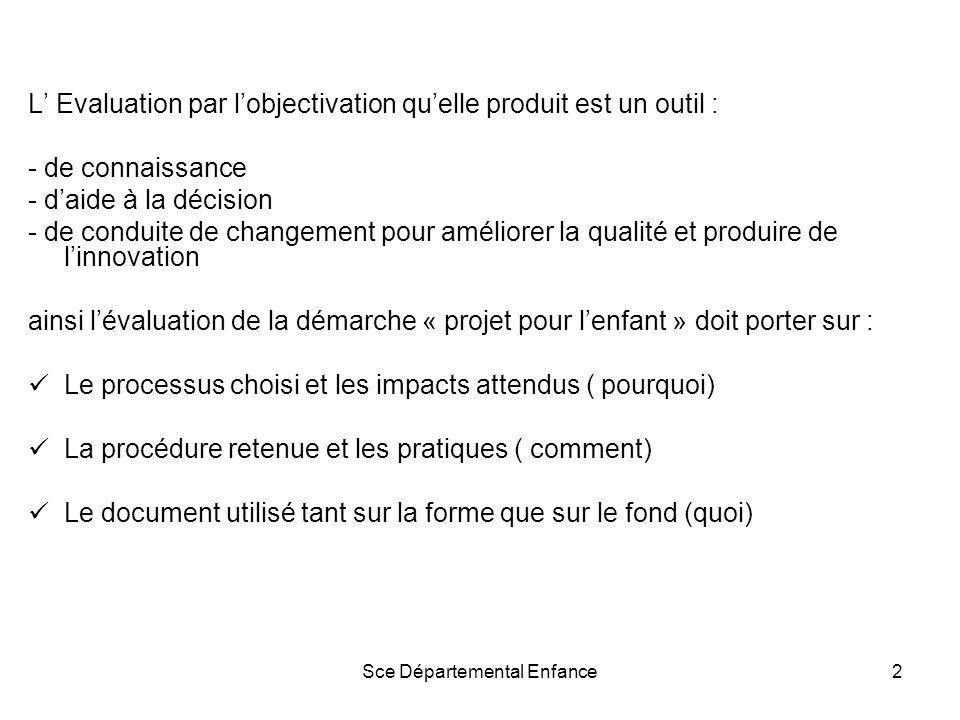 Sce Départemental Enfance2 L Evaluation par lobjectivation quelle produit est un outil : - de connaissance - daide à la décision - de conduite de changement pour améliorer la qualité et produire de linnovation ainsi lévaluation de la démarche « projet pour lenfant » doit porter sur : Le processus choisi et les impacts attendus ( pourquoi) La procédure retenue et les pratiques ( comment) Le document utilisé tant sur la forme que sur le fond (quoi)