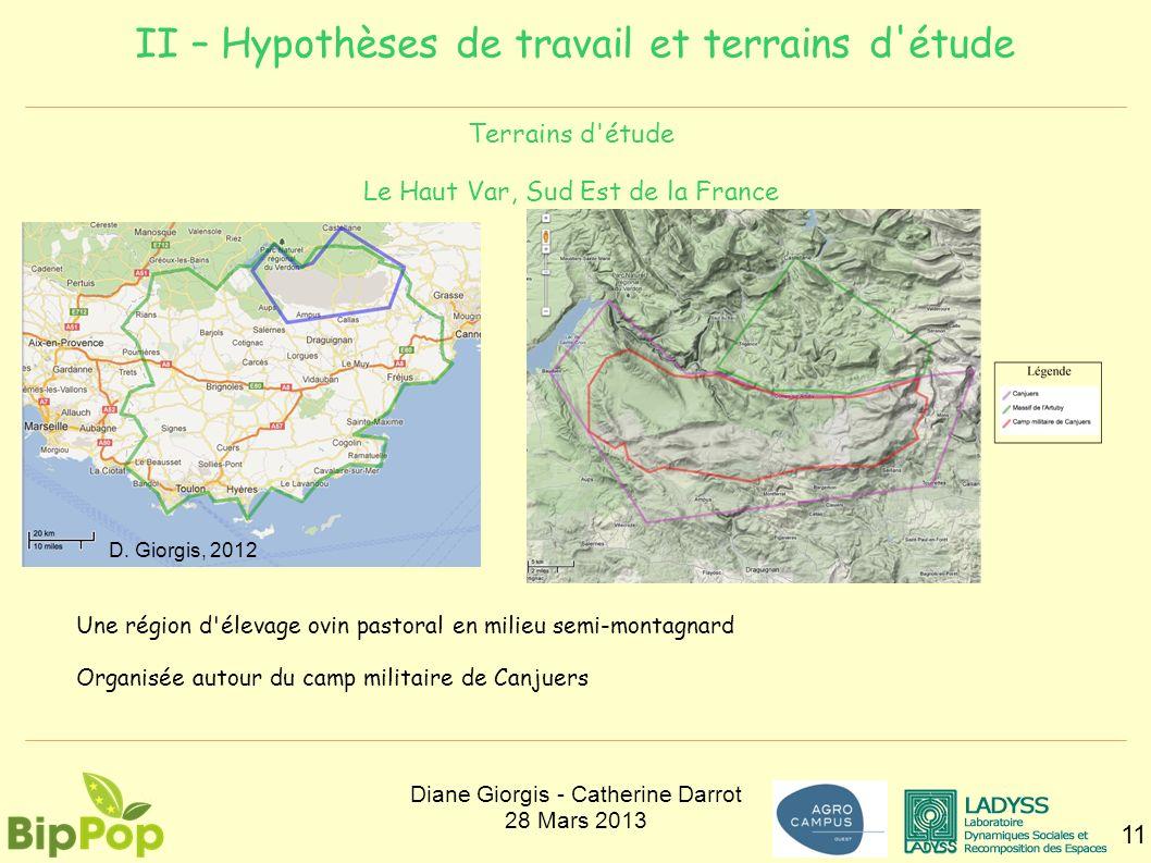 II – Hypothèses de travail et terrains d'étude 11 Terrains d'étude Le Haut Var, Sud Est de la France Une région d'élevage ovin pastoral en milieu semi