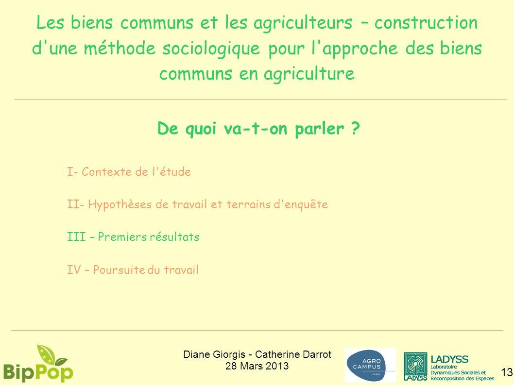 Les biens communs et les agriculteurs – construction d'une méthode sociologique pour l'approche des biens communs en agriculture 13 De quoi va-t-on pa