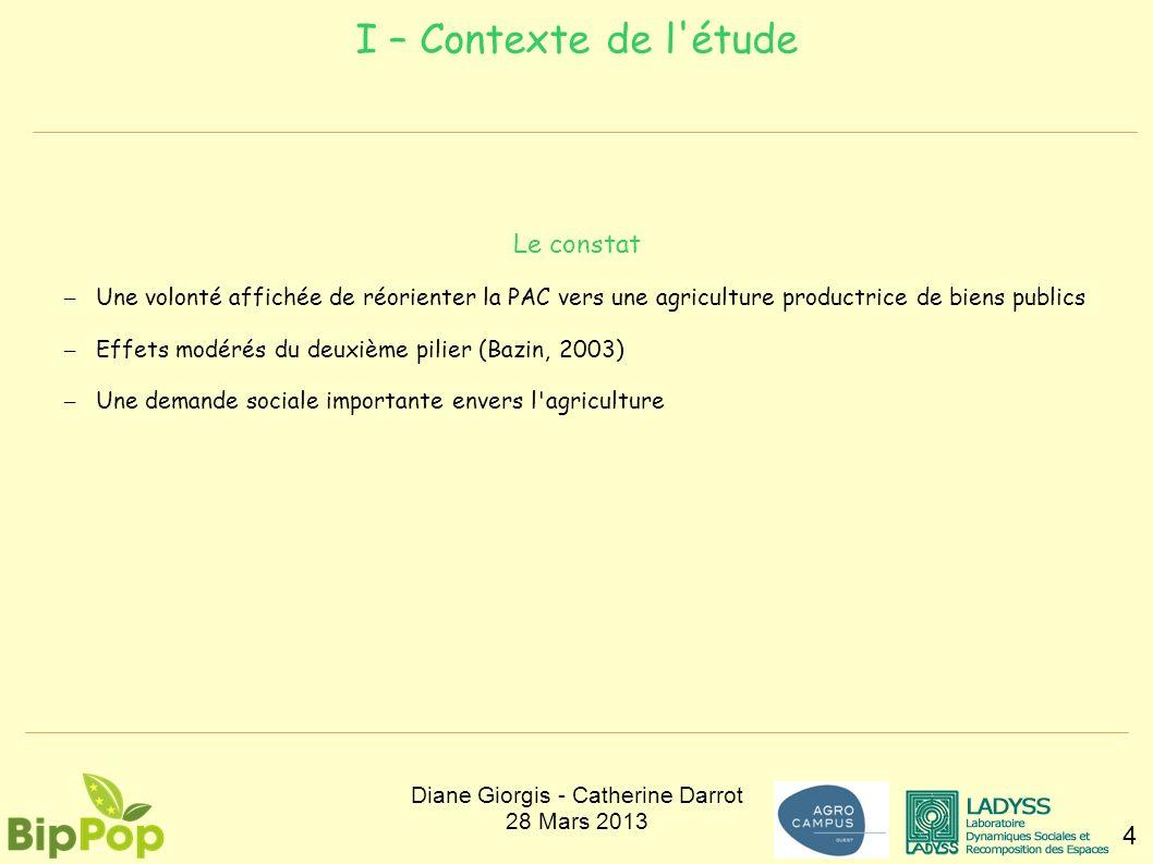 I – Contexte de l'étude 4 Le constat – Une volonté affichée de réorienter la PAC vers une agriculture productrice de biens publics – Effets modérés du