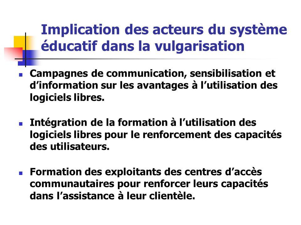 Implication des acteurs du système éducatif dans la vulgarisation Campagnes de communication, sensibilisation et dinformation sur les avantages à luti