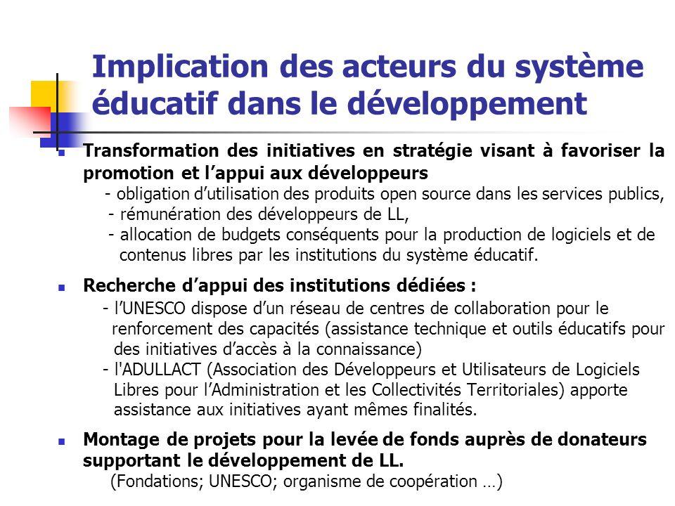 Implication des acteurs du système éducatif dans le développement Transformation des initiatives en stratégie visant à favoriser la promotion et lappu
