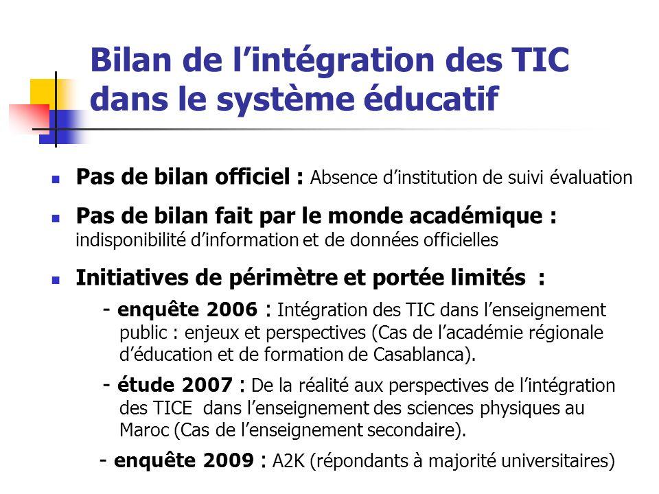 Bilan de lintégration des TIC dans le système éducatif Pas de bilan officiel : Absence dinstitution de suivi évaluation Pas de bilan fait par le monde