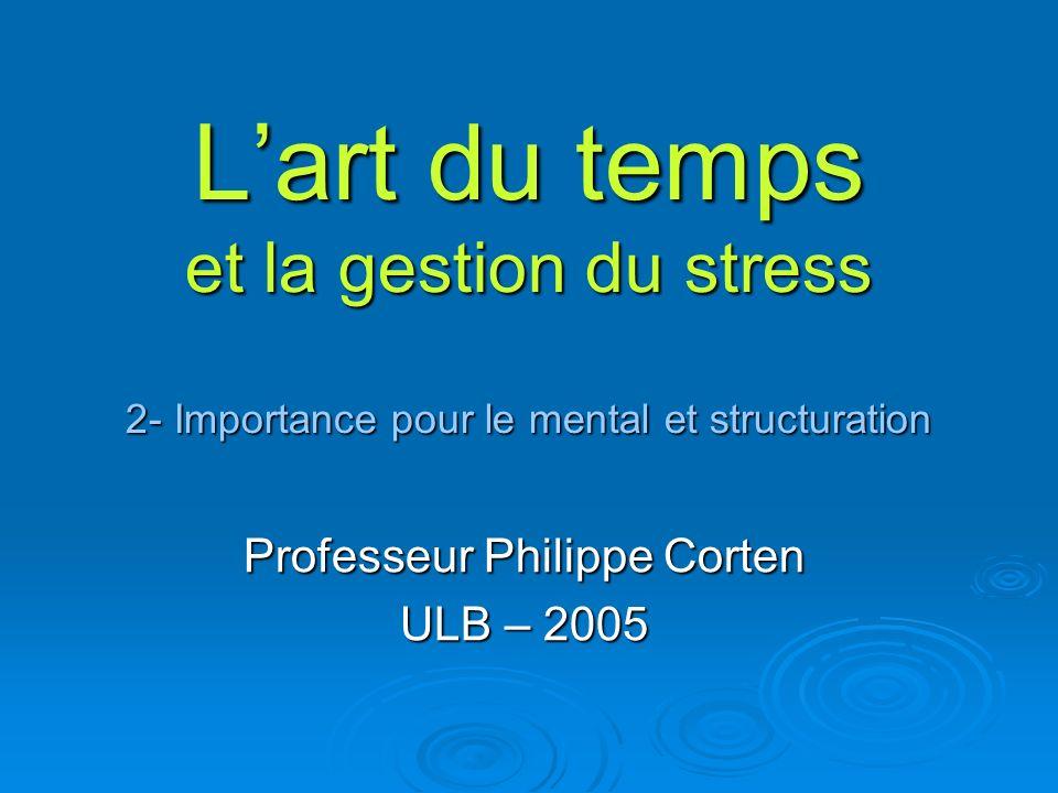 Lart du temps et la gestion du stress 2- Importance pour le mental et structuration Professeur Philippe Corten ULB – 2005