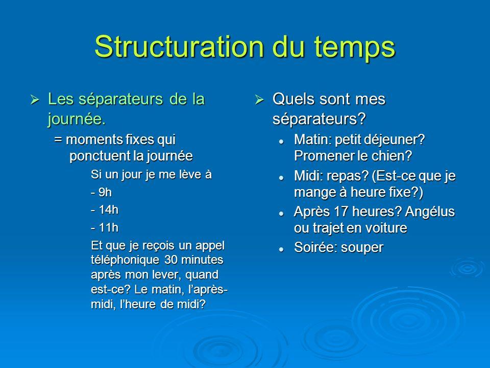 Structuration du temps Les séparateurs de la journée.