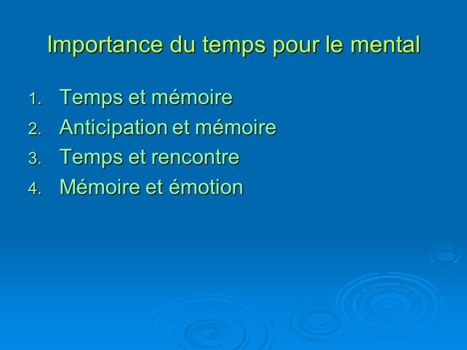 Importance du temps pour le mental 1. Temps et mémoire 2.