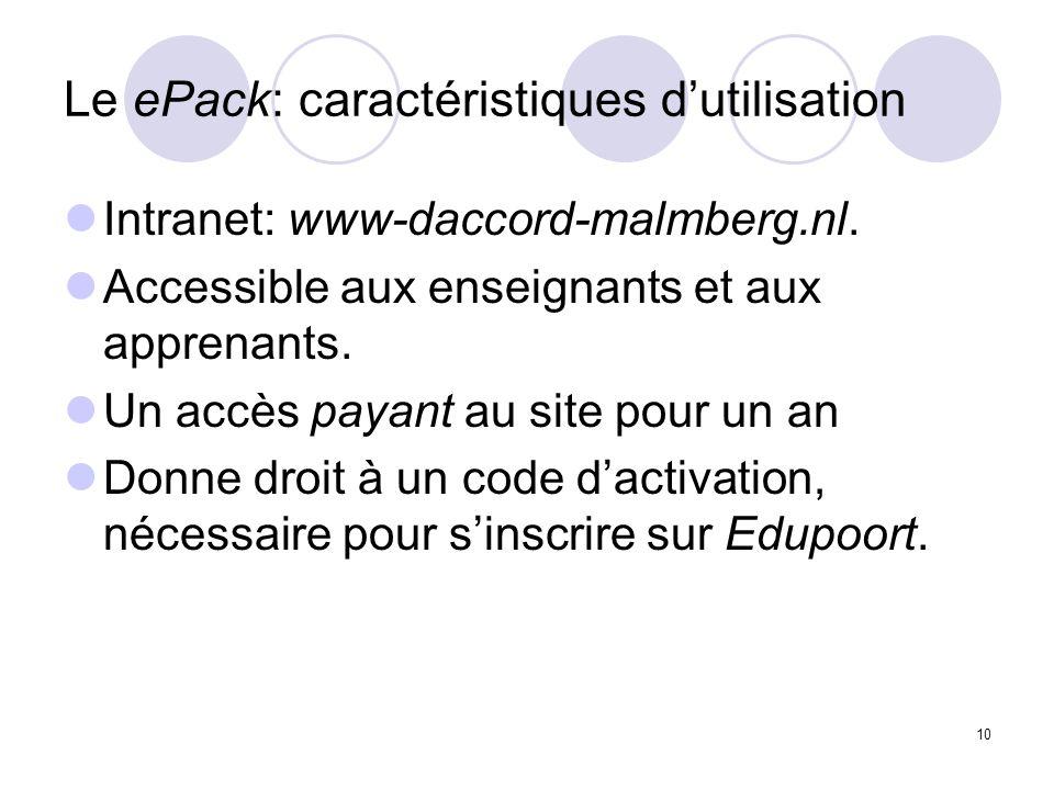 10 Le ePack: caractéristiques dutilisation Intranet: www-daccord-malmberg.nl. Accessible aux enseignants et aux apprenants. Un accès payant au site po