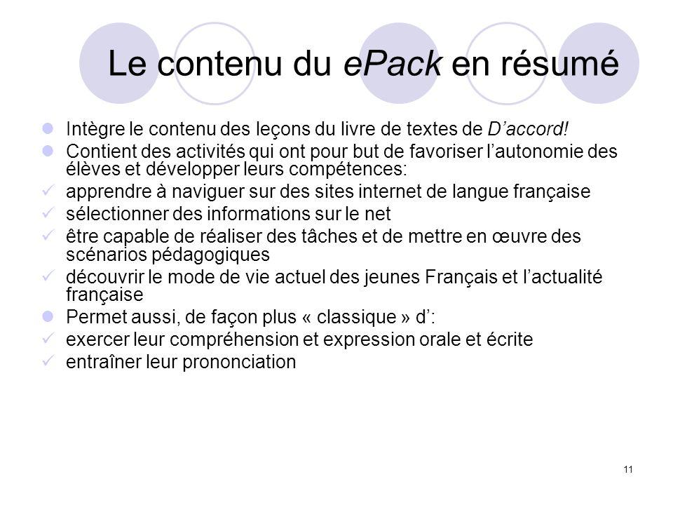 11 Le contenu du ePack en résumé Intègre le contenu des leçons du livre de textes de Daccord! Contient des activités qui ont pour but de favoriser lau