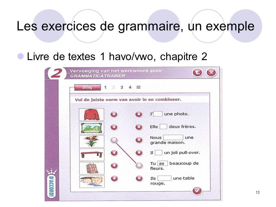 13 Les exercices de grammaire, un exemple Livre de textes 1 havo/vwo, chapitre 2