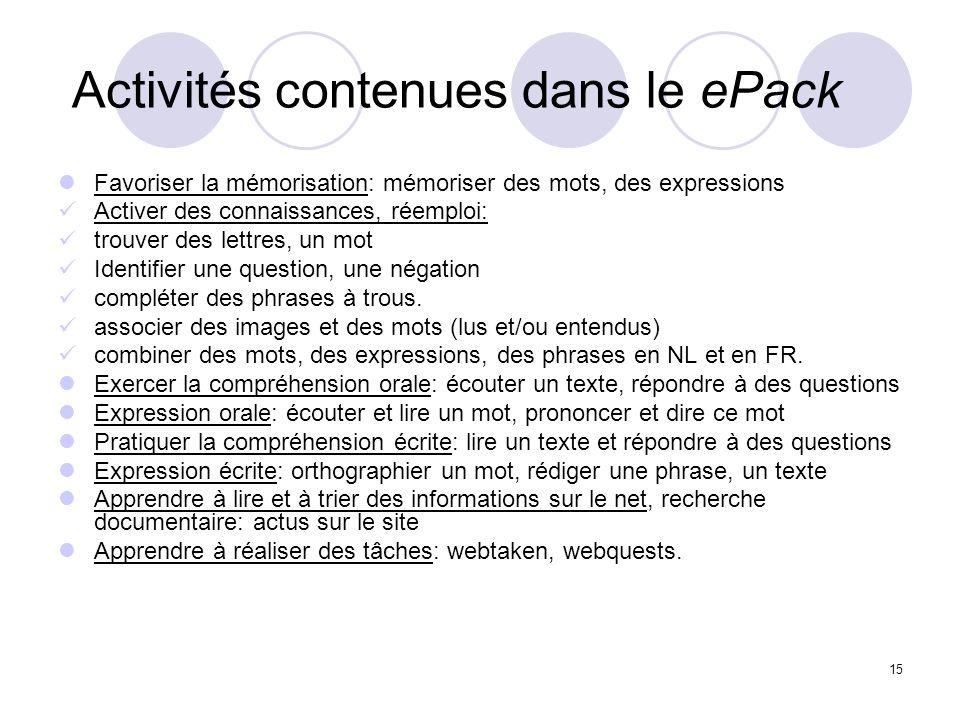 15 Activités contenues dans le ePack Favoriser la mémorisation: mémoriser des mots, des expressions Activer des connaissances, réemploi: trouver des l