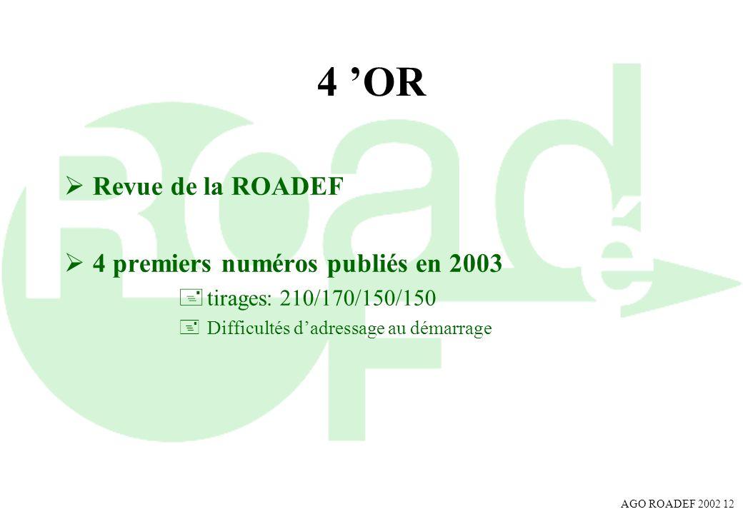 AGO ROADEF 2002 12 4 OR Revue de la ROADEF 4 premiers numéros publiés en 2003 +tirages: 210/170/150/150 +Difficultés dadressage au démarrage