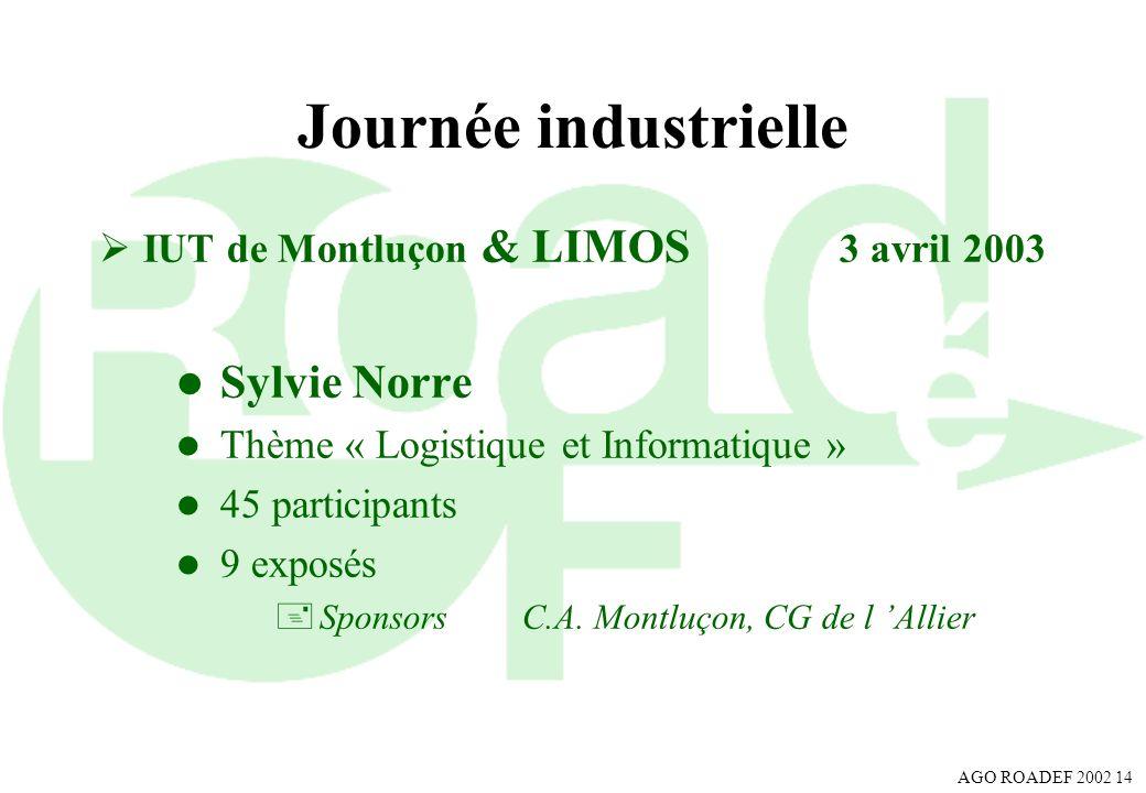 AGO ROADEF 2002 14 Journée industrielle IUT de Montluçon & LIMOS 3 avril 2003 l Sylvie Norre l Thème « Logistique et Informatique » l 45 participants