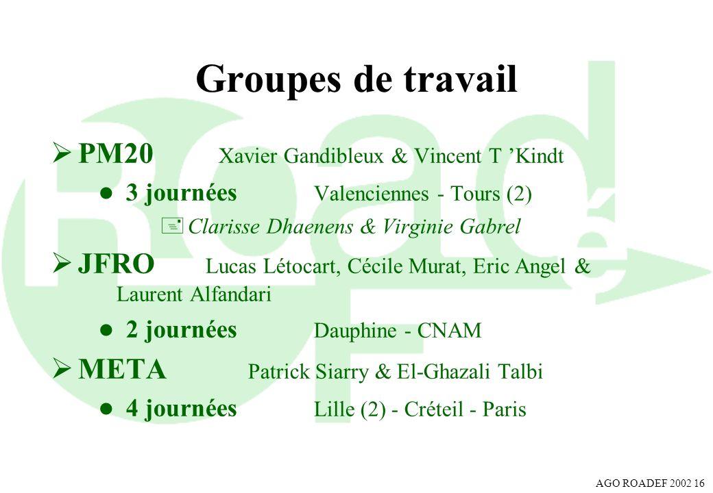 AGO ROADEF 2002 16 Groupes de travail PM20 Xavier Gandibleux & Vincent T Kindt l 3 journées Valenciennes - Tours (2) +Clarisse Dhaenens & Virginie Gab