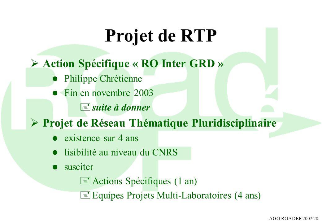 AGO ROADEF 2002 20 Projet de RTP Action Spécifique « RO Inter GRD » l Philippe Chrétienne l Fin en novembre 2003 +suite à donner Projet de Réseau Thém