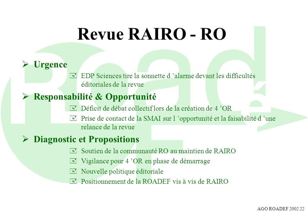 AGO ROADEF 2002 22 Revue RAIRO - RO Urgence +EDP Sciences tire la sonnette d alarme devant les difficultés éditoriales de la revue Responsabilité & Op