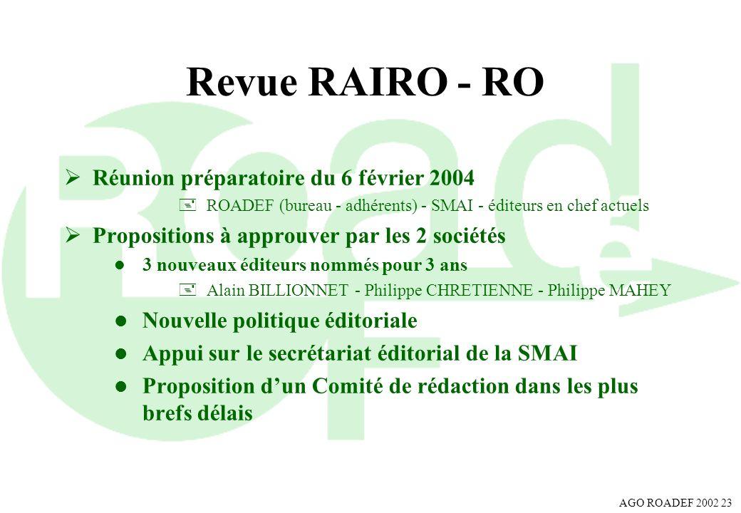 AGO ROADEF 2002 23 Revue RAIRO - RO Réunion préparatoire du 6 février 2004 +ROADEF (bureau - adhérents) - SMAI - éditeurs en chef actuels Propositions