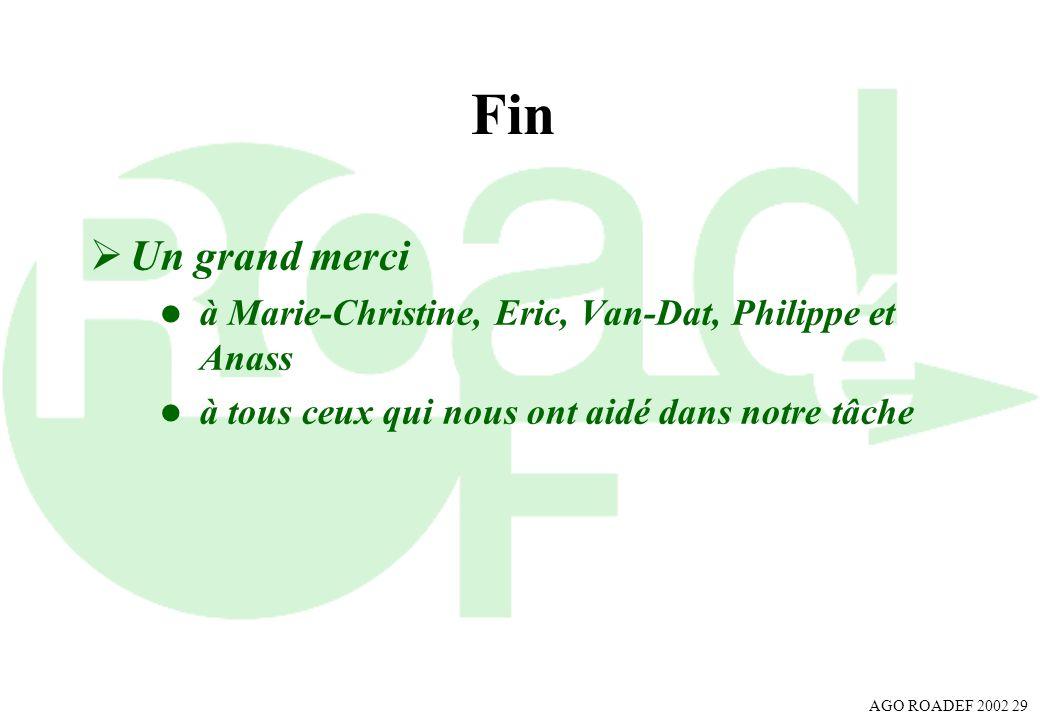 AGO ROADEF 2002 29 Fin Un grand merci l à Marie-Christine, Eric, Van-Dat, Philippe et Anass l à tous ceux qui nous ont aidé dans notre tâche