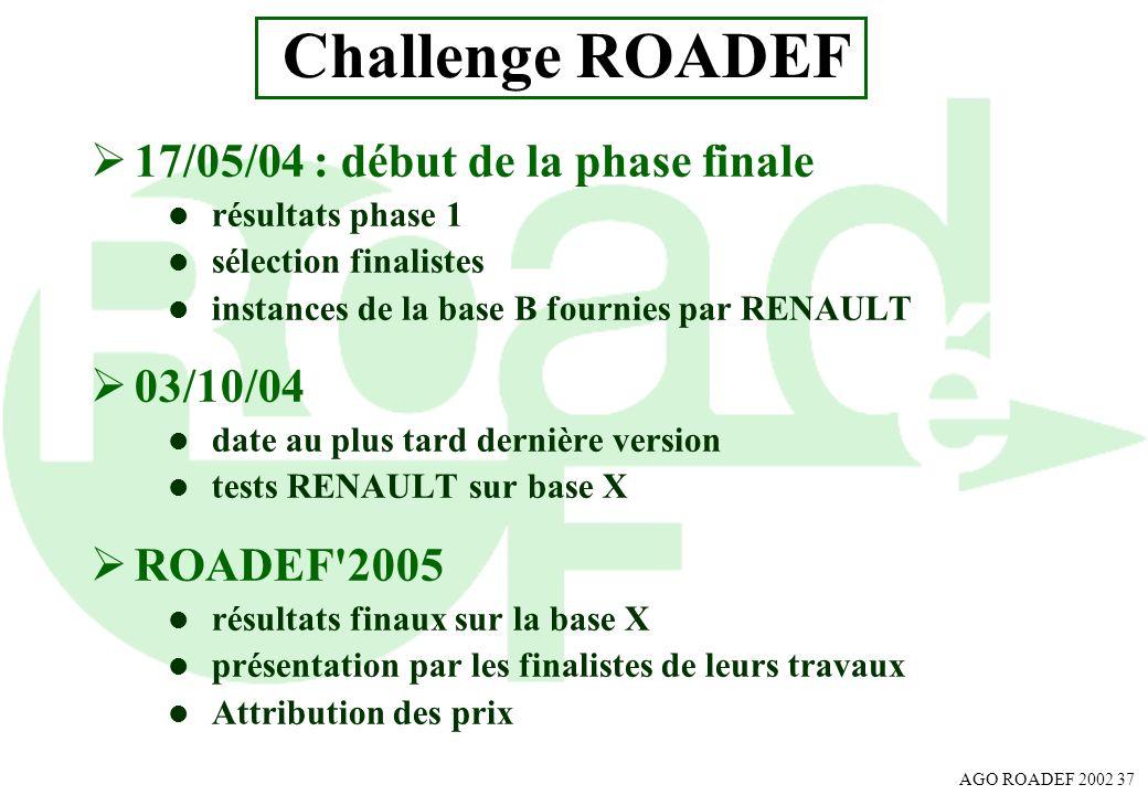 AGO ROADEF 2002 37 Challenge ROADEF 17/05/04 : début de la phase finale l résultats phase 1 l sélection finalistes l instances de la base B fournies p