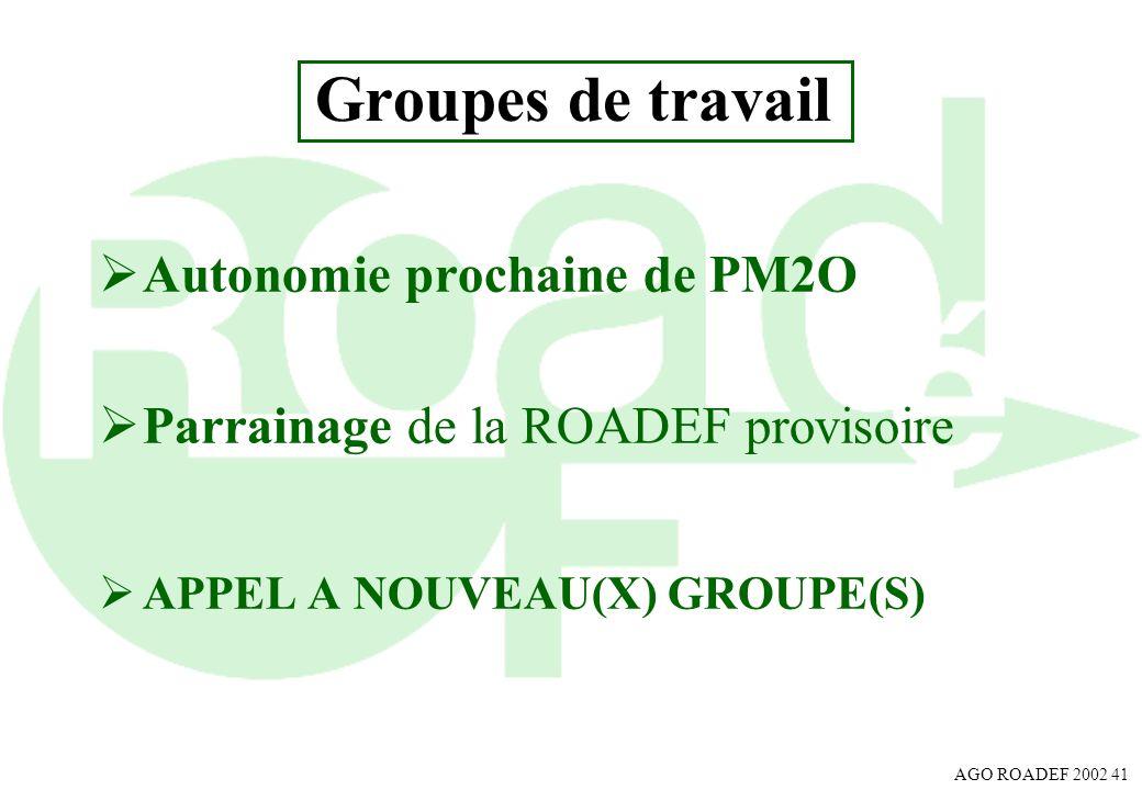 AGO ROADEF 2002 41 Groupes de travail Autonomie prochaine de PM2O Parrainage de la ROADEF provisoire APPEL A NOUVEAU(X) GROUPE(S)