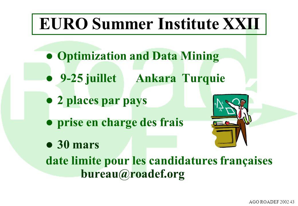 AGO ROADEF 2002 43 EURO Summer Institute XXII l Optimization and Data Mining l 9-25 juilletAnkara Turquie l 2 places par pays l prise en charge des fr