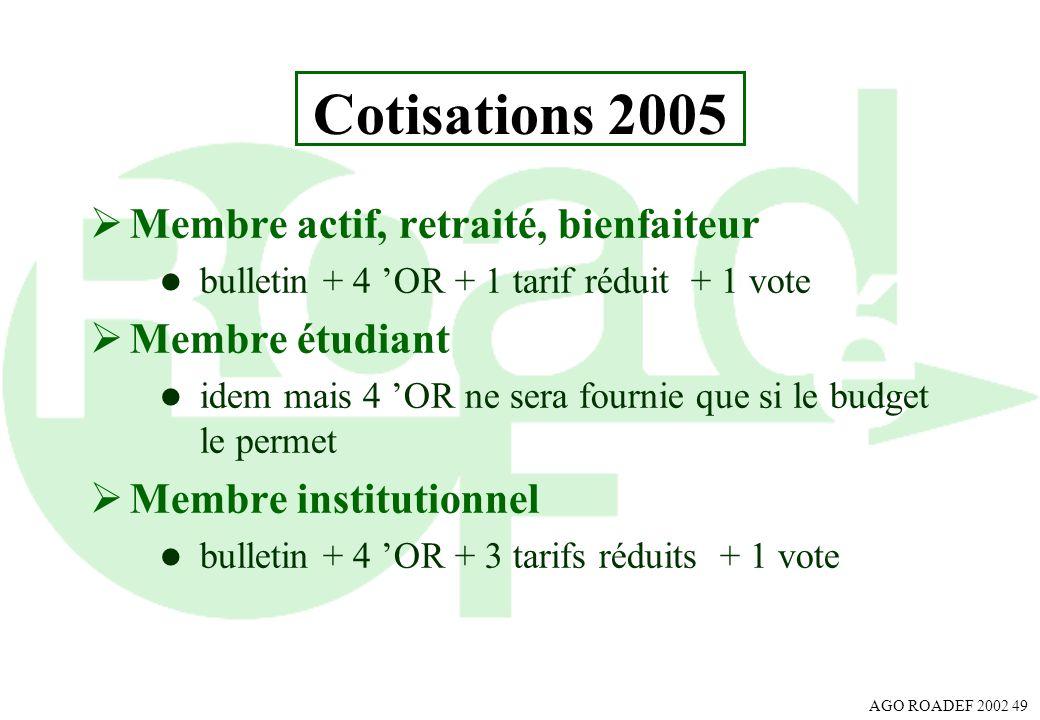 AGO ROADEF 2002 49 Cotisations 2005 Membre actif, retraité, bienfaiteur l bulletin + 4 OR + 1 tarif réduit + 1 vote Membre étudiant l idem mais 4 OR n