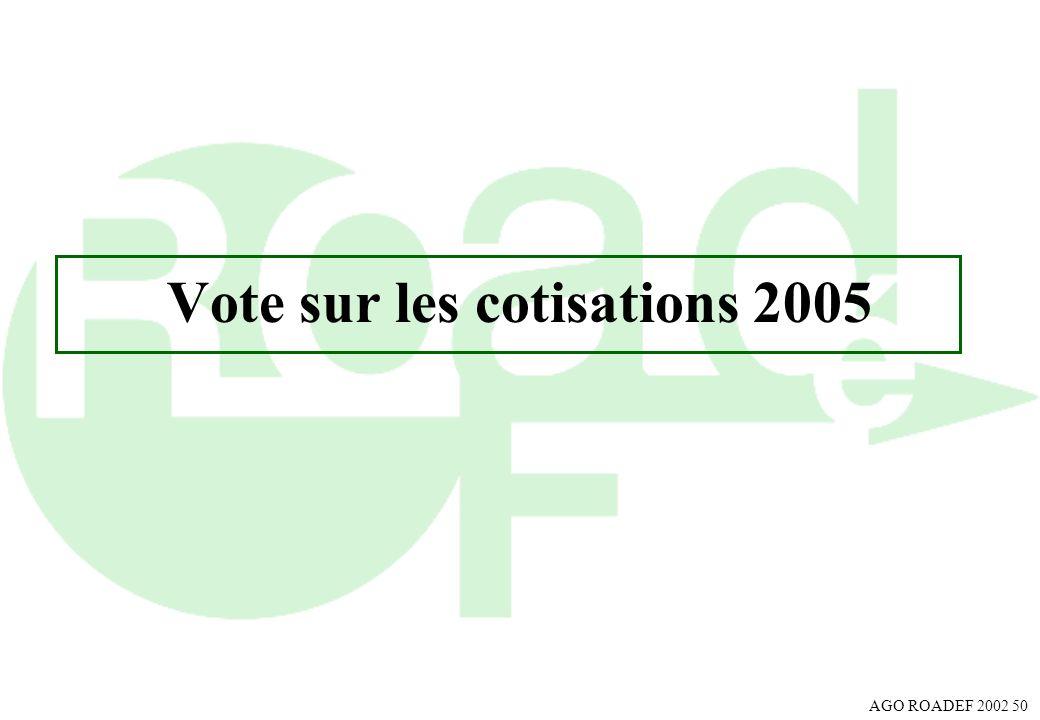 AGO ROADEF 2002 50 Vote sur les cotisations 2005