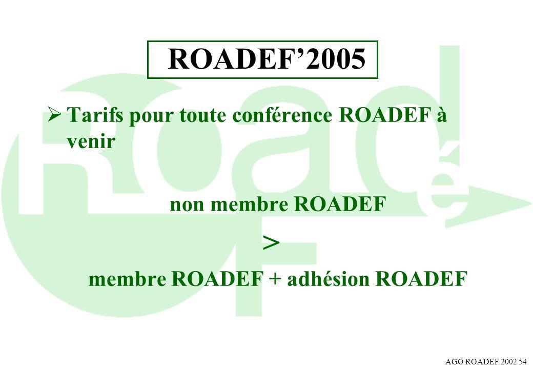AGO ROADEF 2002 54 ROADEF2005 Tarifs pour toute conférence ROADEF à venir non membre ROADEF > membre ROADEF + adhésion ROADEF