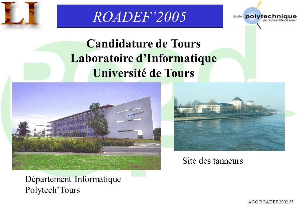 AGO ROADEF 2002 55 ROADEF2005 Candidature de Tours Laboratoire dInformatique Université de Tours Département Informatique PolytechTours Site des tanne