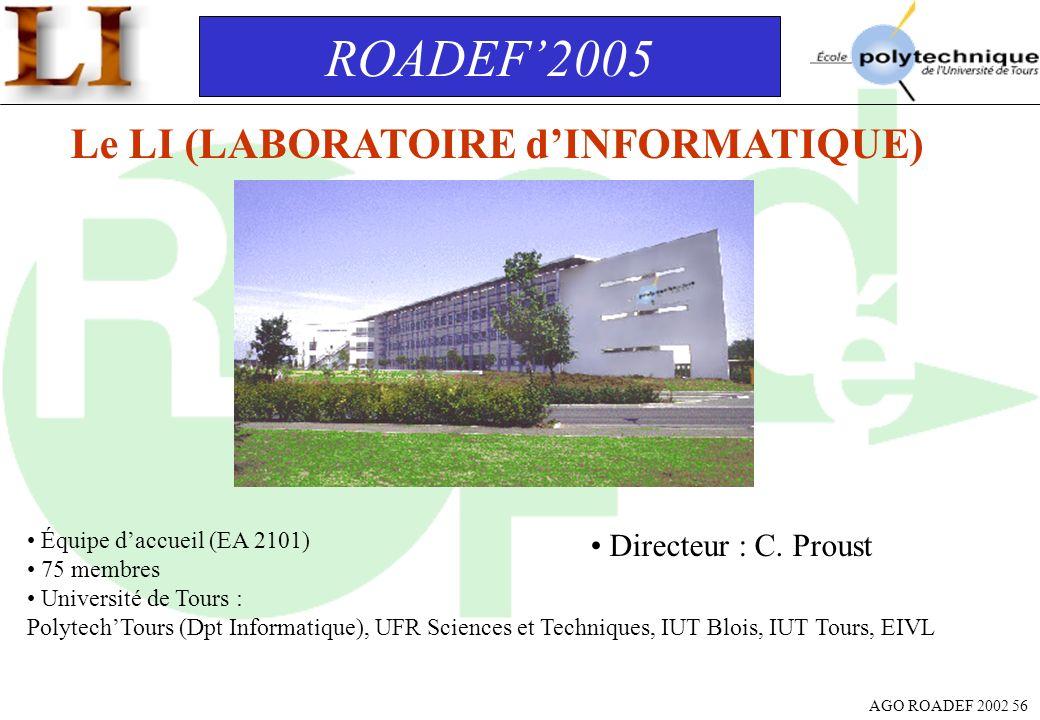 AGO ROADEF 2002 56 ROADEF2005 Le LI (LABORATOIRE dINFORMATIQUE) Équipe daccueil (EA 2101) 75 membres Université de Tours : PolytechTours (Dpt Informat