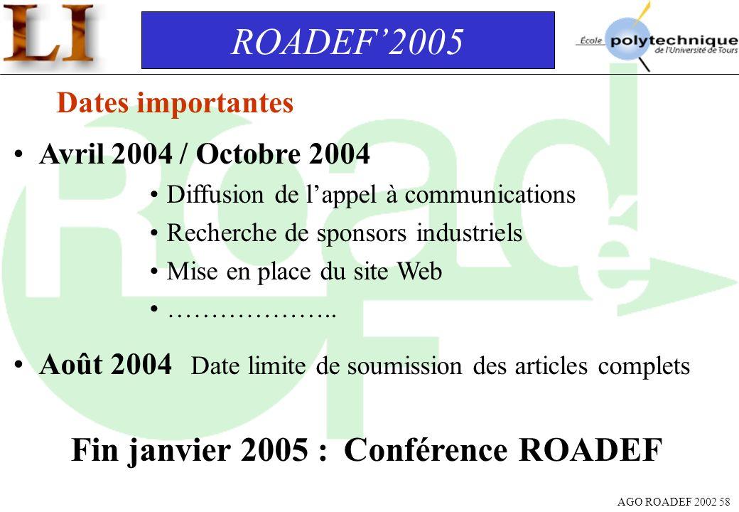 AGO ROADEF 2002 58 ROADEF2005 Dates importantes Avril 2004 / Octobre 2004 Diffusion de lappel à communications Recherche de sponsors industriels Mise
