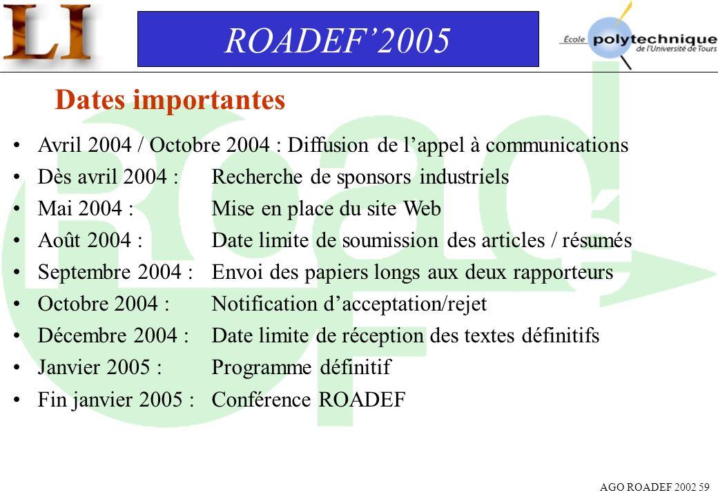 AGO ROADEF 2002 59 ROADEF2005 Dates importantes Avril 2004 / Octobre 2004 : Diffusion de lappel à communications Dès avril 2004 :Recherche de sponsors